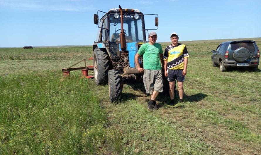 Отлично трудятся на заготовке сена в СПК(к) «Авангард» Николай Ярмонов и Максим Егоров